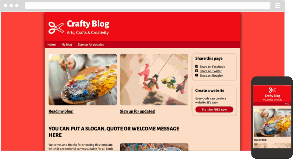 Mobile responsive template for a crafty blog